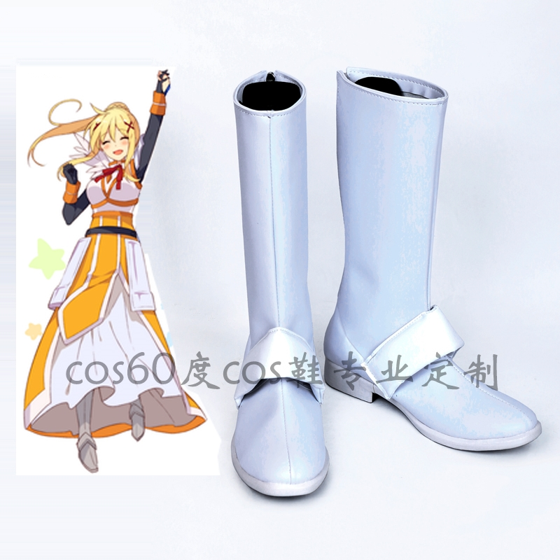 God's Blessing On This Wonderful World KonoSuba Darkness Cosplay Shoes Anime Cosplay Boots Zipper-up Halloween Party Shoes