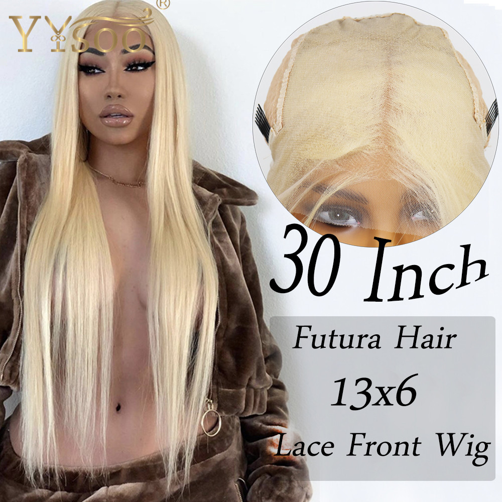 YYsoo 30inch Long 13X6  Synthetic Lace Front Wigs For Women 613Color Japan Futura Fiber Silky Straight Blonde Wigs With Babyhair