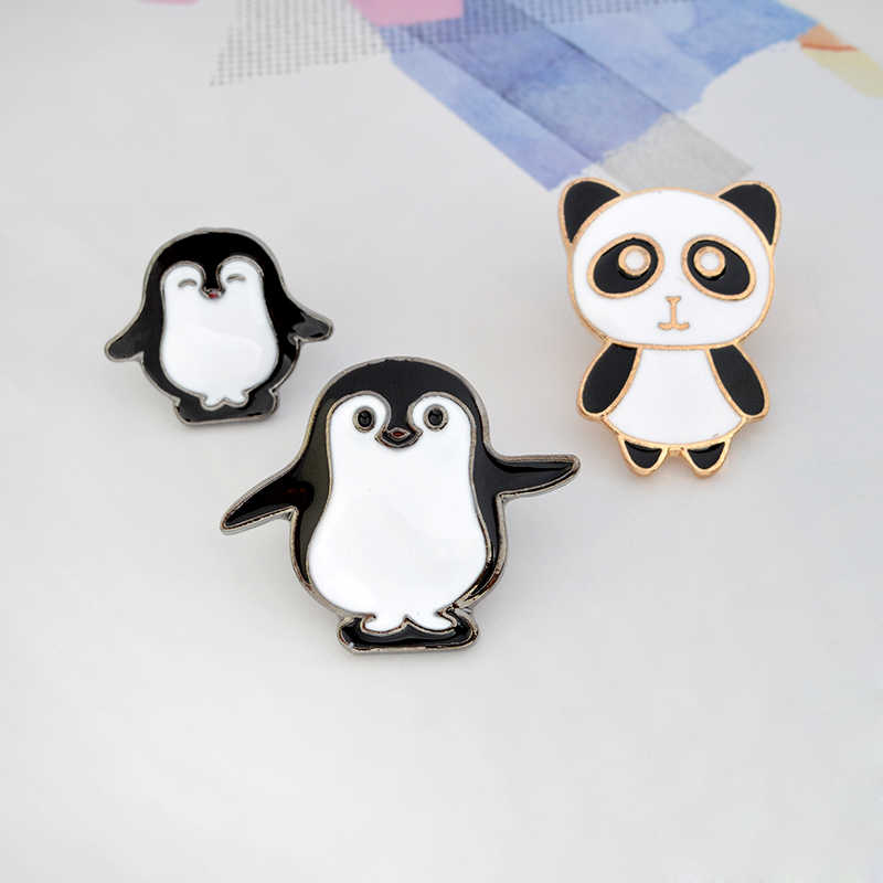 Broche de Animal creativo de dibujos animados Panda y pingüino madre y bebé familia niños amigos regalo joyería solapa camisa insignia
