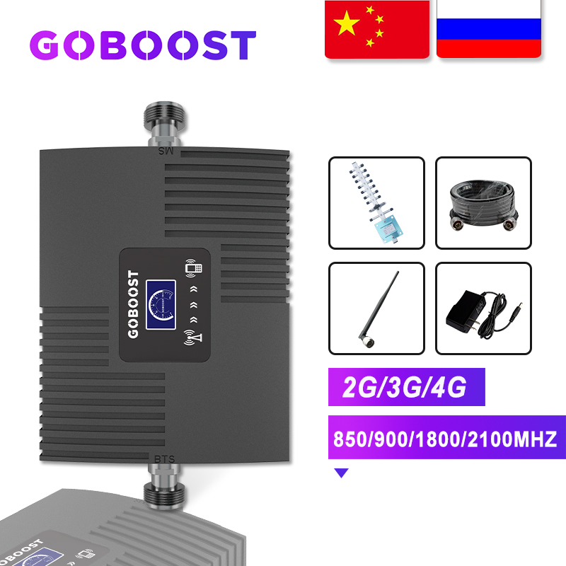 GOBOOST Cellular Signal Booster Repeater GSM 900 1800 2100 Amplifier GSM 2G 3G 4G Signal Booster Internet Cell Phone Amplifier