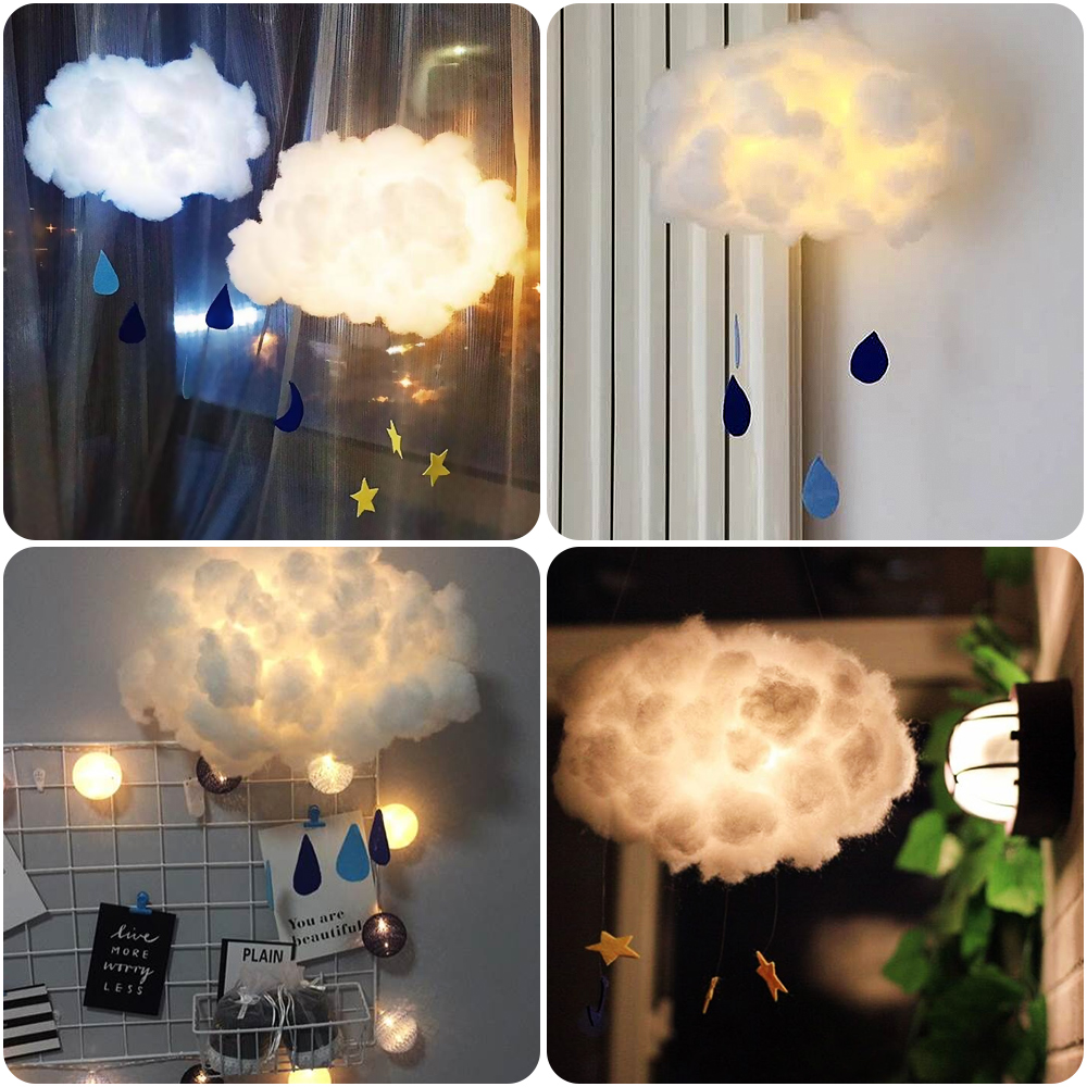 Hanging Night Light DIY Handmade Cute Cotton Cloud Shape Light For Birthday Gift Bedroom Home Decoration