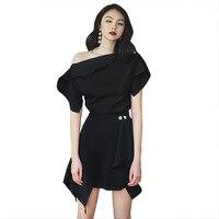Women Short Sleeve Shirt High Waist A Line Skirt Solid 2 Piece Set High Street Sexy One Shoulder Irregular Work Skirts Suit