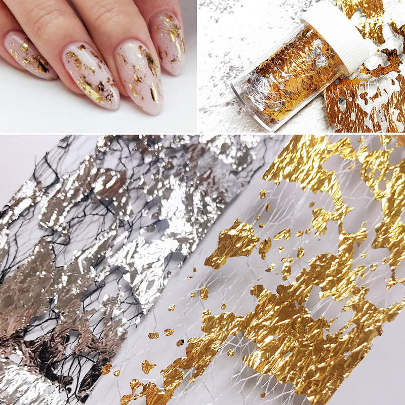 Gold Silver Net Line Tape Nail Stickers Aurora Stripe Line Design Fluorescent 3D Nail Art Transfer Sticker Decoration Tips Decal
