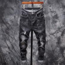 New Mens Jeans Loose Trend Holes Harlan Pants Slim Distressed Black Ripped for Men Denim
