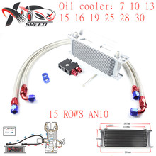 цена на Universal 15 row oil cooler AN10 15 rows engine radiator + for BMW N54 135i 335i oil filter adapter