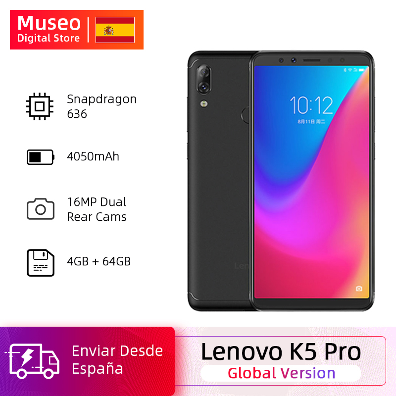 Global Version Lenovo K5 Pro Snapdragon 636 Octa Core 4GB 64GB Smartphone Quad Cameras 5.99 Inch Screen 4050 MAh 4G Phones