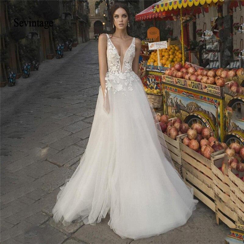 Sevintage A Line Boho Wedding Dresses Lace Appliqued Deep V Neck Beach Formal Party Dress Bride Gowns vestidos de novia 2020
