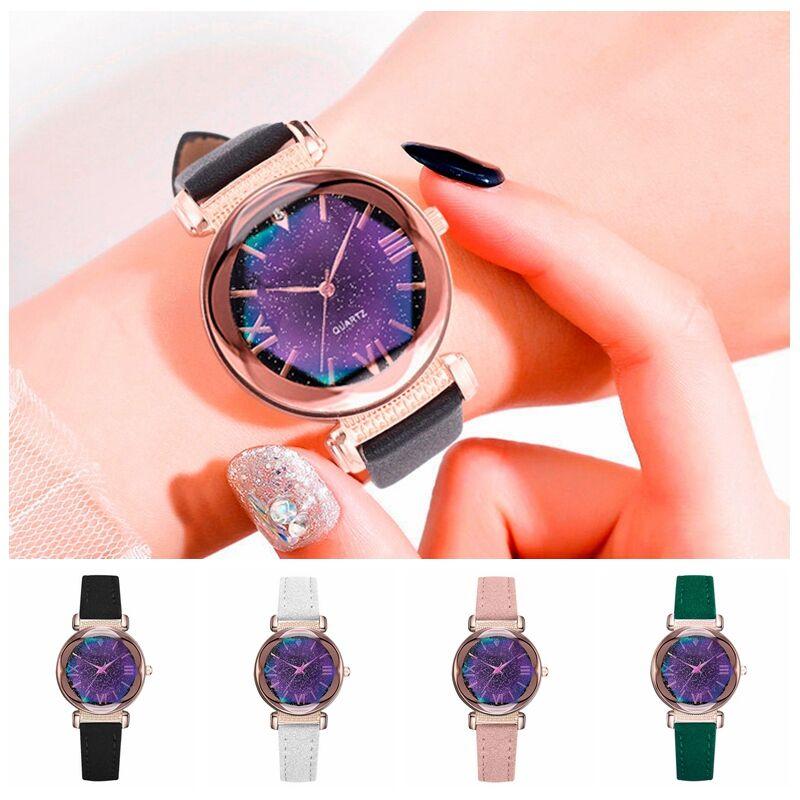 Fashion Women Female Quartz Watch Luxury Causal Business Steel Watches Simple Starry Dial Leather Belt Dress Wrist Watch Gift
