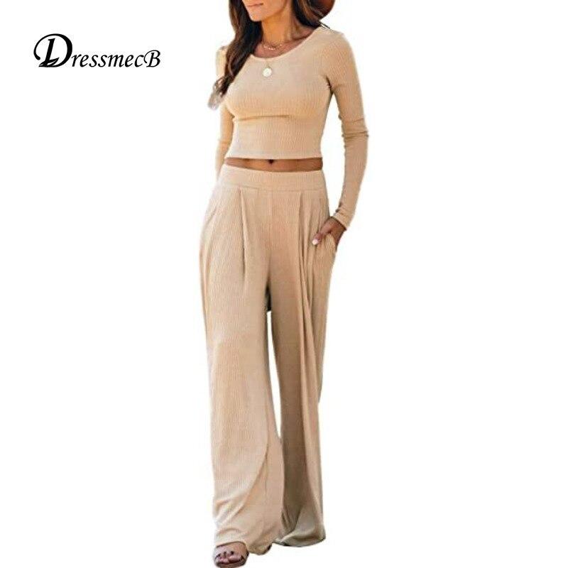 Dressmecb однотонный повседневный комплект из двух предметов Женская одежда с длинным рукавом футболка и брюки женские комплекты 2021 осенний ко...