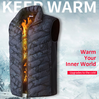 Men&Women Electric Heated Vest Winter Thermal Warm Heating Vest Camouflage Heated Jacket Fishing Hiking Big Size Waistcoat Others Men's Fashion