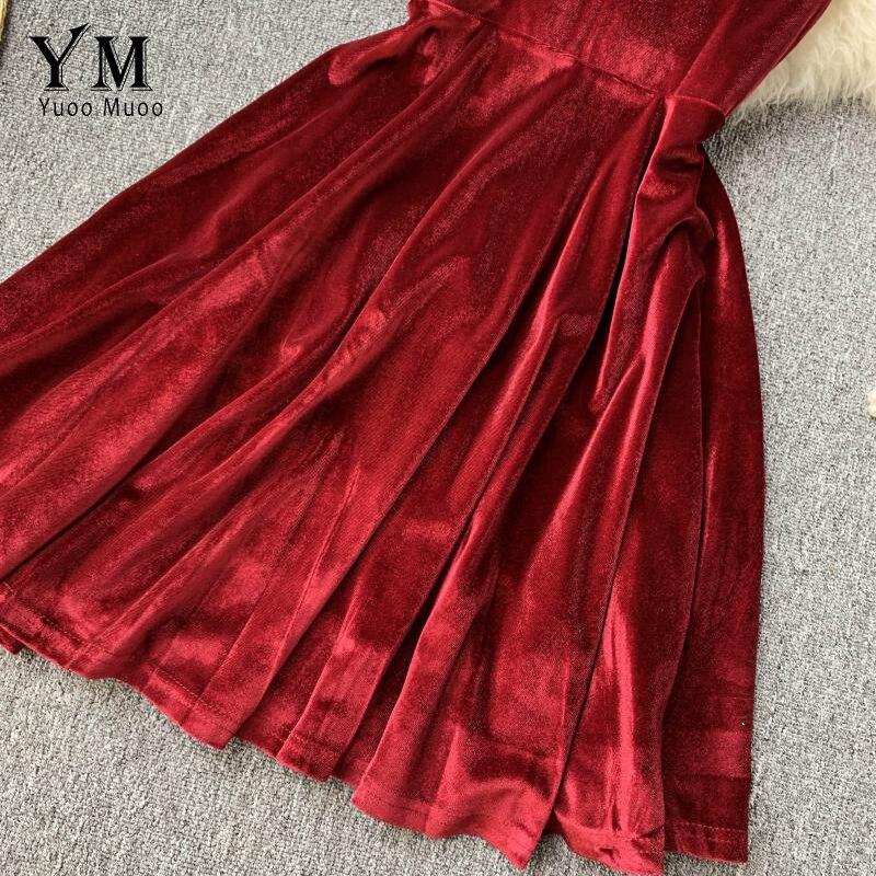 YuooMuoo Elegant Vintage Gothic Spaghetti Strap Dress 2019 Early Fall Basic Women Short Party Dresses Slim High Waist Mini Dress 5