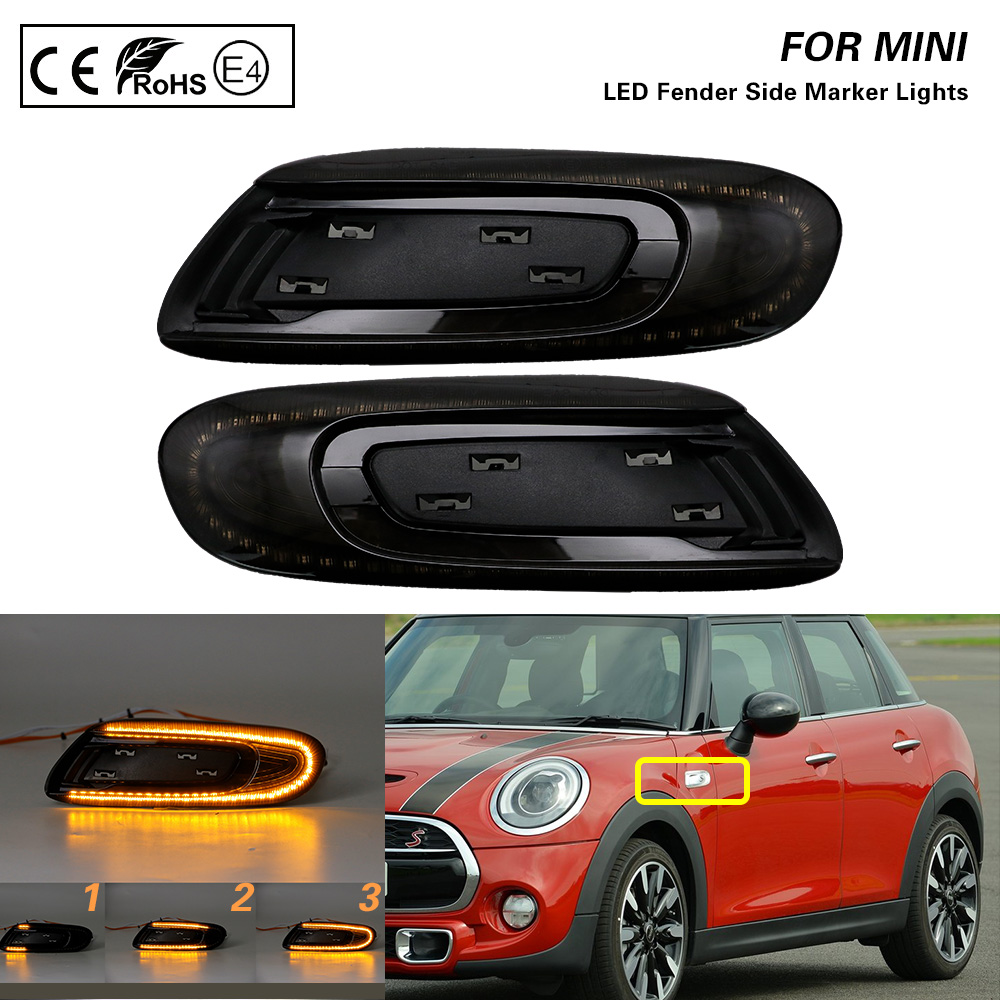 2 led dinâmicos para fender, luz marcador de luz lateral, lâmpada âmbar, lente de fumaça, para mini cooper f55 f56 f57