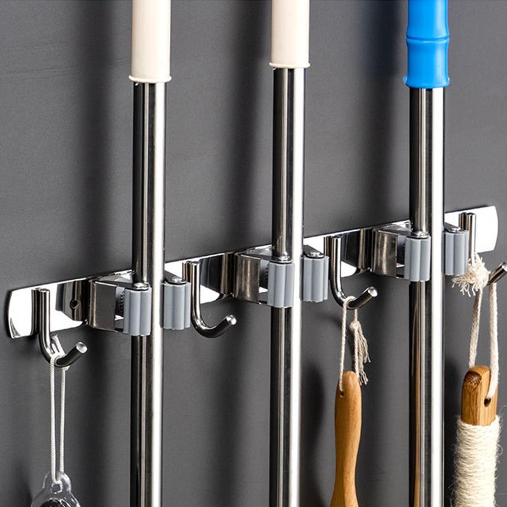 Broom Holder Heavy Duty Practical Clip Mop Organizer Wall Mount Hook Stainless Steel Storage Space Saving Hanger Multifunctional