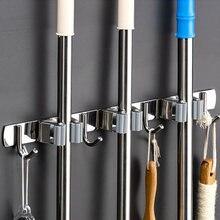 Suporte de vassoura resistente prático clipe mop organizador de montagem na parede gancho de armazenamento de aço inoxidável space saving cabide multifuncional