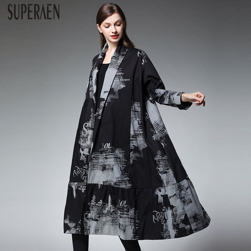 SuperAen Europe Pluz Size Trench Coat for Women 2019 Autumn New Pluz Size Print Ladies Windbreaker Cotton Fashion Women Clothes
