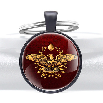 Classic Roman Empire SPQR Symbol Glass Cabochon Metal Pendant Key Chain Key Ring Jewelry Gifts image