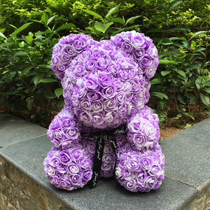 Image 3 - 40M Rose Bear With Flower Valentiness Day Gift For Wedding Decoration