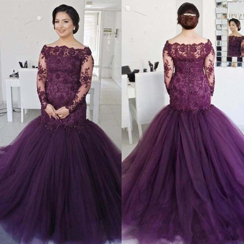 Élégant grande taille robes de bal sirène manches longues pas cher robe de soirée porter de longues robes formelles perlées pour les femmes 2020