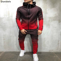 2019 New men's sportswear gym clothing men exercise suit polyester breathable men's suit running fitness jogging sport homme