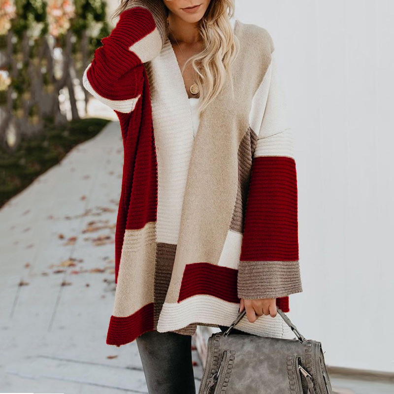 2020 Women knitted cardigan geometric stitching vintage long women sweater warm autumn winter loose cardigan coat female DR2246 (31)
