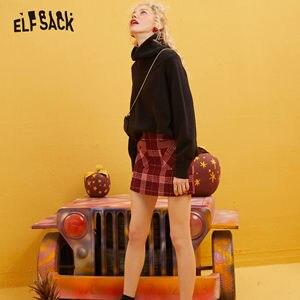 Image 4 - ELFSACK Rosso Plaid Patchwork In Pelle Tasca Mini Pannello Esterno Delle Donne 2020 di Inverno Nuovo Colorblock Skinny Donna Calore Gonne di Lana