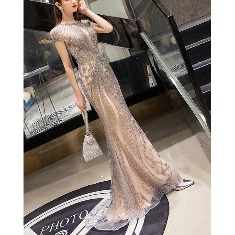 Long Women Mermaid   Evening   Pageant   Dresses   Robe De Soiree Sexy Luxury Diamond Even Gown Dubai Prom   Dress   Plus Size