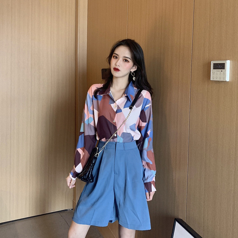 Early Autumn WOMEN'S Suit 2019 New Style Retro Contrast Color Long-sleeved Shirt High-waisted Bermuda Shorts Hong Kong Flavor Tr