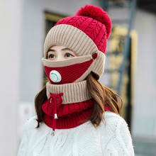 Hat And Scarf 2019Top Womens Girls Knit Beanie Mask Set Soft Warm Fleece Lined Winter Ski