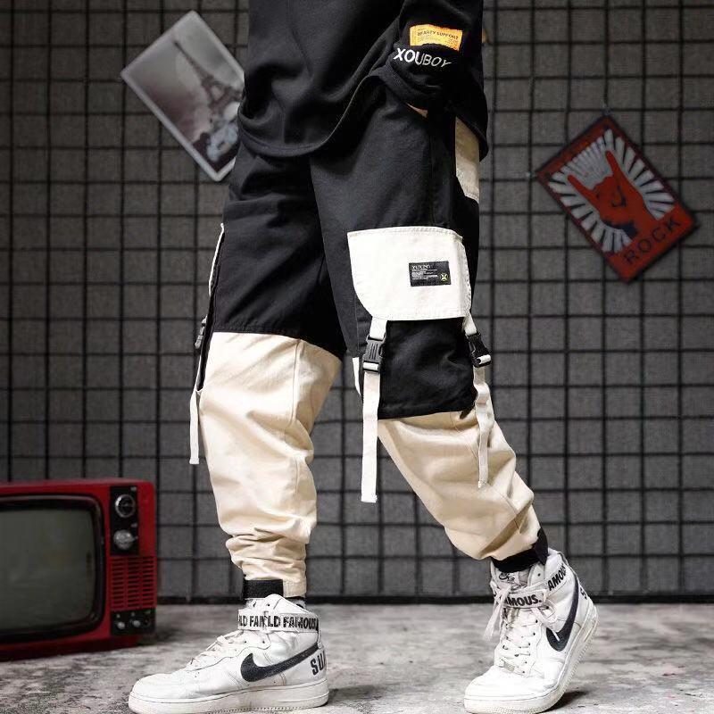 2020 Hip Hop Pants Streetwear Men's Splice Joggers Pants Men Casual Cargo Pant Trousers High Street Elastic Waist Harem Pant Men