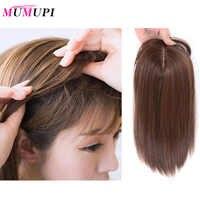 MUMUPI topper-flequillo Natural para mujer, extensión de cabello larga y recta con Clip, peluca sintética de alta temperatura, Clip de peluca para mujer