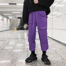 Men's More Pocket Work Leisure Sports Pants Reflect Light Letter Casual Pants Elastic Waist Trousers Bound Feet Sweatpants M-3XL