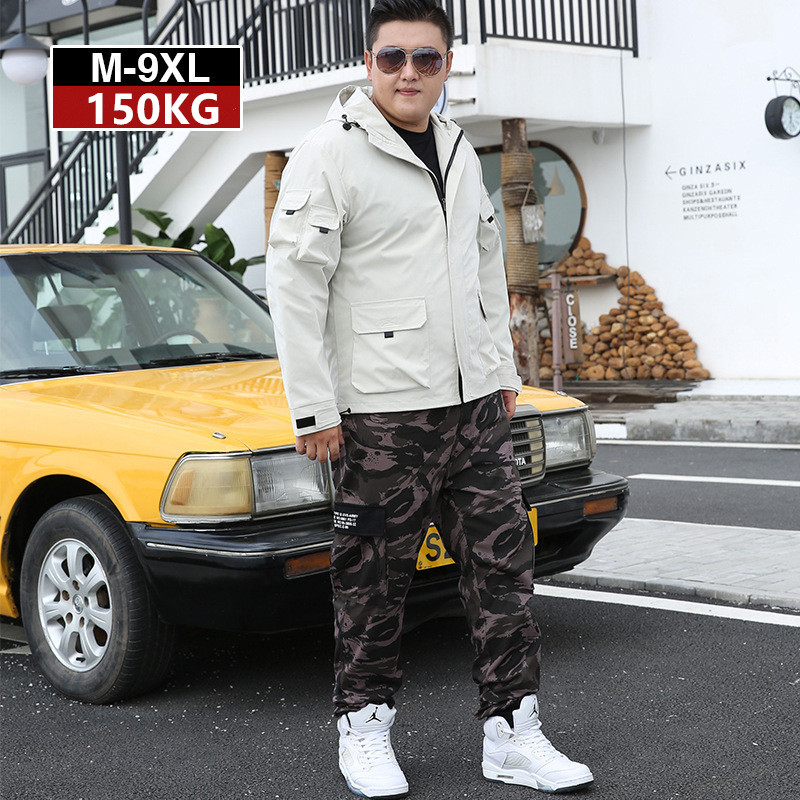 Mens Tracksuit 2019 2 Piece Autumn Men Camouflage Sports Pants Off White Hoodie Jacket Coat Big Size 5XL 6XL 7XL 8XL 9XL Clothes