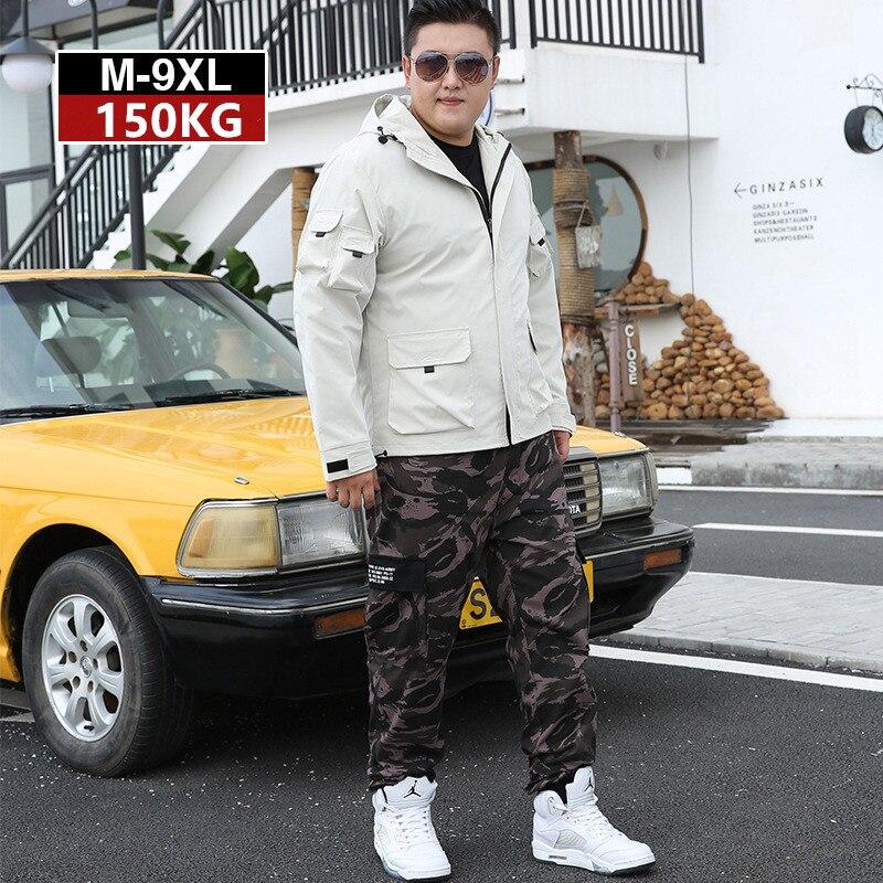 Mens Tracksuit 2019 2 Piece Autumn Men Camouflage Sports Pants Off White Hoodie Jacket Coat Big Size 5XL 6XL 7XL 8XL 9XL Clothes