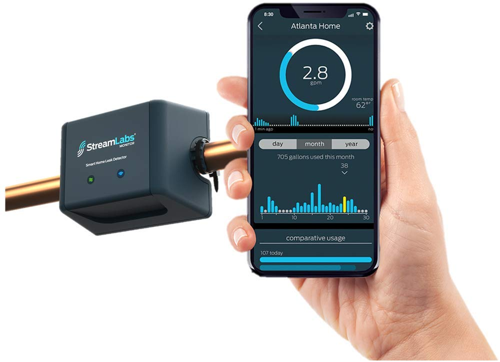 StreamLabs Smart Home Water Monitor Leak Detector With Wi-Fi Real-Time Phone Alerts Fits 3/4
