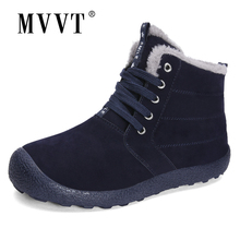 Plus Size Men Winter boots Leather Pig Suede Snow Boots For Waterproof Shoes Ankle Fur