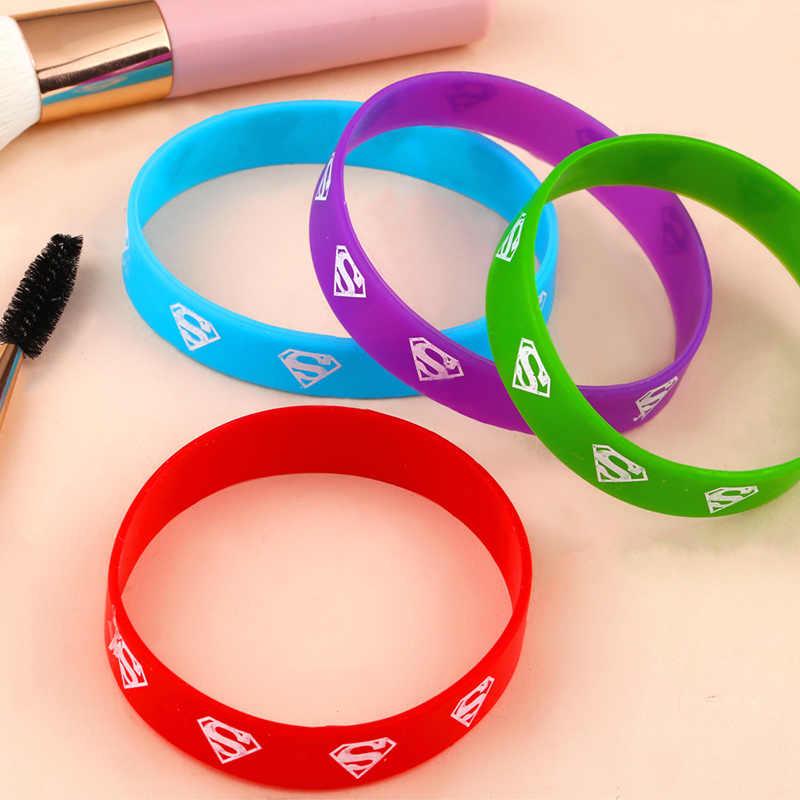 10PCS Super Man Kleurrijke Custom Siliconen Armband Voor Kid Adult Sport Populaire Rubber Sport Armbanden Armband & Bangle brt-b73