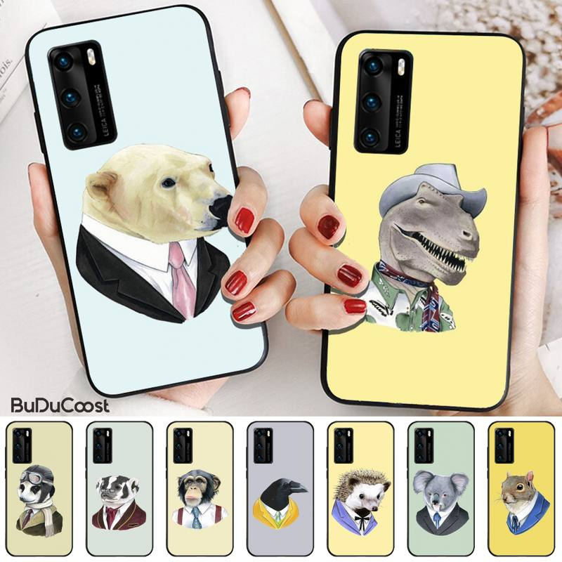 Cute Animal Dress Up Black Cell Phone Case For Huawei P9 10 20 30 40 P Smart 20lite 2019 P30 Lite Pro P9 Lite 2017 P 40 Pro