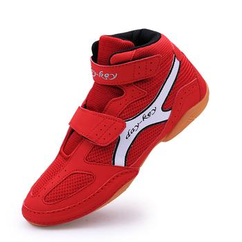 Buty zapaśnicze dla dzieci buty treningowe antypoślizgowe trampki miękkie Oxford buty bokserskie chłopcy dziewczęta dzieci bokserskie buty treningowe tanie i dobre opinie Wrestling buty Unisex Wszystkie pory roku RUBBER Mesh (air mesh) Hook Loop Boxing Shoes Soft Children Boxing Training Boot