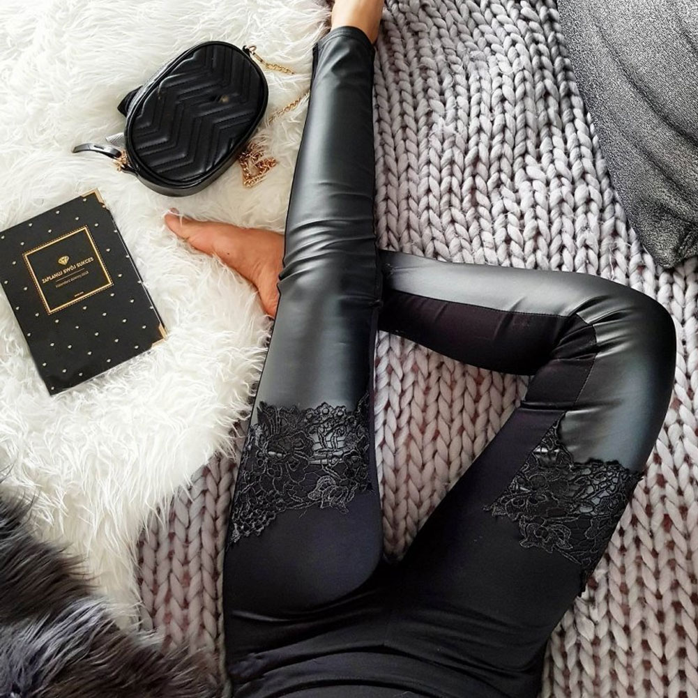 New Womens Stretch High Waist Shiny PU Leather Pants Skinny Vogue Lace Patchwork Faux Leather Leggings Pencil Pants Slim Fit