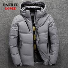 Мужская теплая куртка на белом утином пуху, красная, черная теплая куртка, теплая верхняя одежда для зимы, 2019
