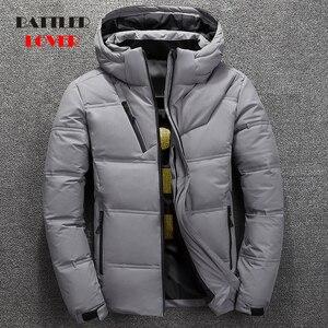 Image 1 - 2019 חורף מעיל גברים באיכות גבוהה תרמית עבה מעיל שלג אדום שחור Parka זכר חם להאריך ימים יותר גברים אופנה לבן ברווז למטה מעיל