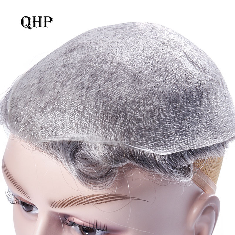 Thin Skin 0.02-0.03mm Mens Toupee Pure Handmade Wig 8x10 Inch Remy Indian Human Hair Replacement Systems