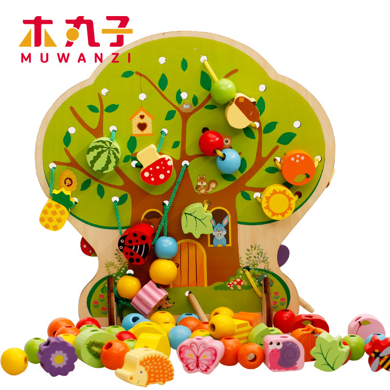 Children Wooden Building Blocks Cartoon House Beaded Bracelet Wearing Rope Bead-stringing Toy CHILDREN'S Toy Baby Early Childhoo