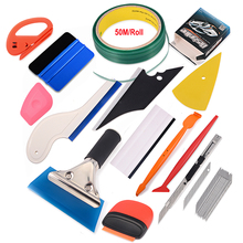 FOSHIO Carbon Fiber Film Magnet Micro Squeegee 50m Knifeless Tape Sticker Cutter Tools Kit Vinyl Car Wrap Window Tint Tool Set
