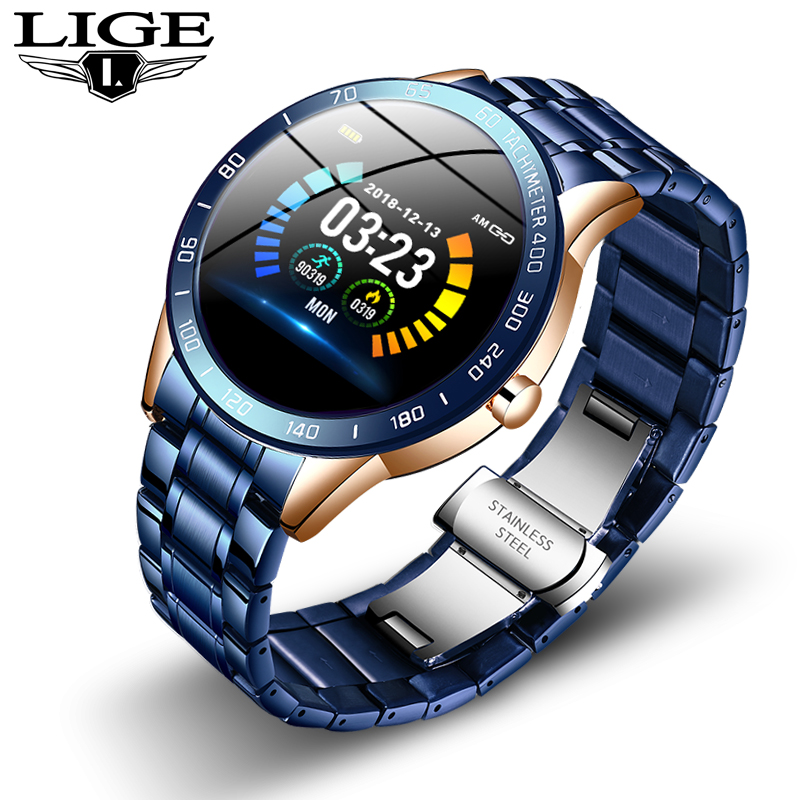 LIGE New Mens smart watch men Waterproof sport For iPhone Heart rate monitor Blood pressure function smartwatch Fitness tracker