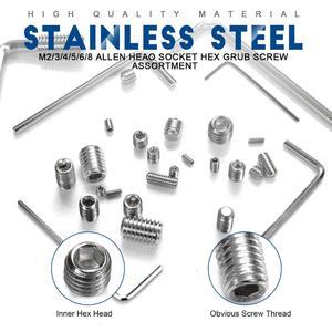 Image 3 - 666pcs Hex hexagon socket set screw flat point stainless steel grub screw assortment kit M2 M3 M4 M5 M6 M8 headless set screw