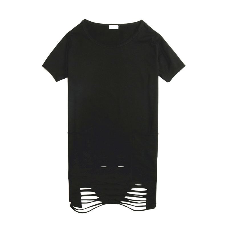 Summer solid color trend hole high street Slim mid-length couple bottoming shirt ins tide brand men's short-sleeved t-shirt