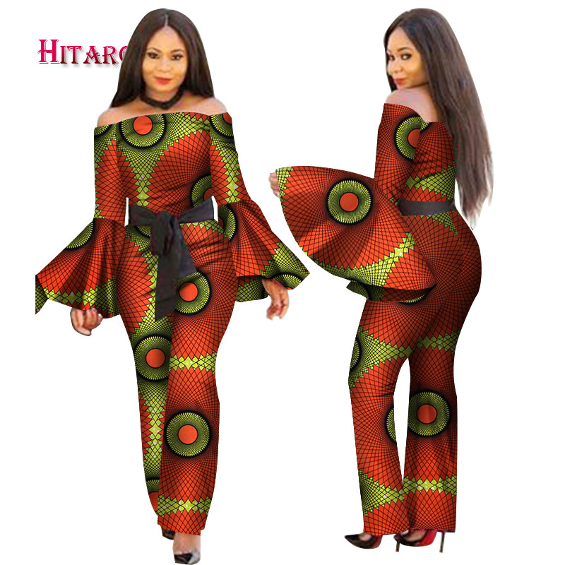 2020 African Print Women Jumpsuit Slash-Neck Long Horn Sleeve Sexy Romper Wide Leg Pants African Ladies Jumpsuits Rompers WY2634