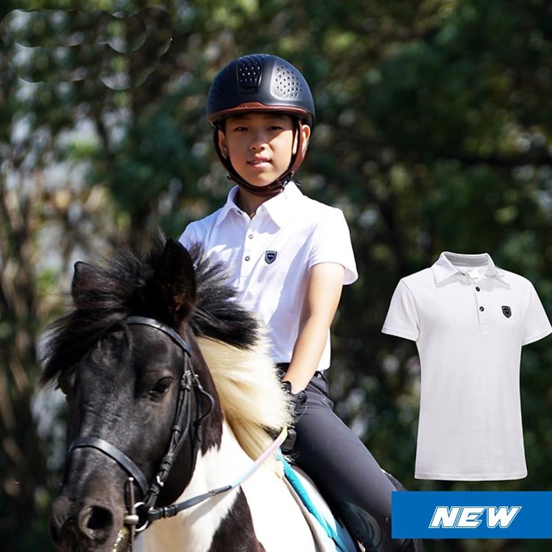 Детские спортивные поло, футболка с короткими рукавами для верховой езды, хлопковая детская одежда для конного спорта, Топ