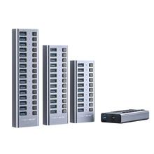 Acasis 산업용 USB 3.0 허브 MacBook Pro 컴퓨터 용 12V 전원 어댑터 지원 충전기가있는 7/10/13/16 알루미늄 스위치